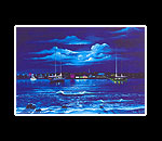 Night Mooring Matted Print