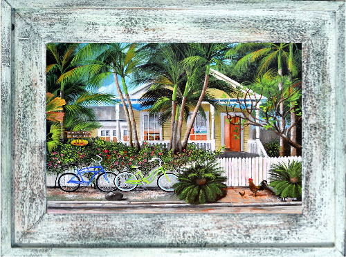 Casa Key West, Happy Hour Key West Canvas Print In Cedar Frame
