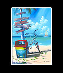Beach Signs Matted Print